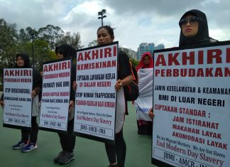 Migrant workers demanding for better working condition in May 1st protest. Photo: Rizal